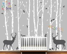 Removable Nursery Birch Tree Forest with Birds and Deer buck and squirrels (9 trees) DC0128B