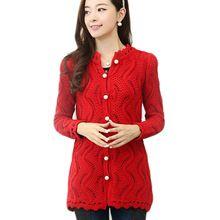Jalon autunno della molla nuove donne cava maglione con scollo a v maglia lunga cardigan giacche pulsante perla(China (Mainland))