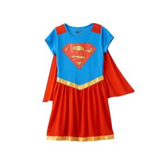 Girls 6-16 DC Comics Supergirl Dorm Nightgown with Removable Cape, Girl's, Size: 10-12, Red