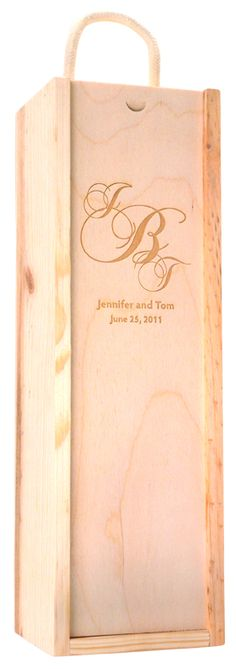 Send your Clients a personalized etched wine bottle and an engraved wooden box.