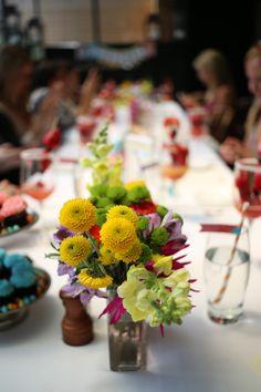 Bright floral arrangements. #HuggiesBabyShower