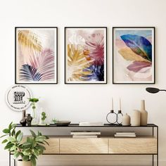 Set of 3 Wall Art Botanical Prints Navy Blue Leaf Blush   Etsy Blue Leaves, Leaf Art, Abstract Watercolor, Botanical Prints, Beautiful Artwork, Fine Art Paper, Office Decor, Blush Pink, Amazing