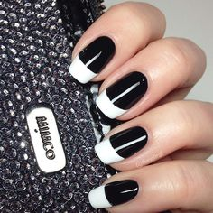 20 Majestic Black and White Nail Art DesignsLadies' nails have forever been a crucial dimension of beauty and fashion. There area unit as many ways you'll do your nails because the stars within the Majestic Black and White Nail Art Designs For White French Nails, Black And White Nail Art, White Tip Nails, French Tip Nails, Black Nails, Black Nail Tips, Chic Nails, Trendy Nails, Nail Art Tutorials
