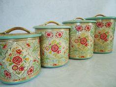 Vintage Kitchen Tin Canister Set made in by SwirlingOrange11, $95.00
