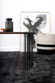 A modern round oak and steel coffee table. South African Design, Steel Coffee Table, Dark Horse, Modern Furniture, Horses, Home Decor, Decoration Home, Room Decor, Home Interior Design