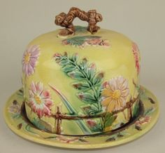 English Majolica Fence and Flower Cheese Bell