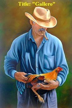 """Cuban Art ! """"Gallero """"  Oil painting 36""""x 24"""". Art by Daysi. Valentine Gift  #Realism"""