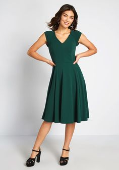 A Line Dress Work, Dresses For Work, Unique Dresses, Cute Dresses, Dresses Dresses, Church Dresses, Black Slip Dress, Fit N Flare Dress, Professional Dresses