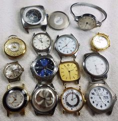 14 Piece Watch Lot Cases Only No Straps As Is Seiko Timex Lucerne Fossil &…