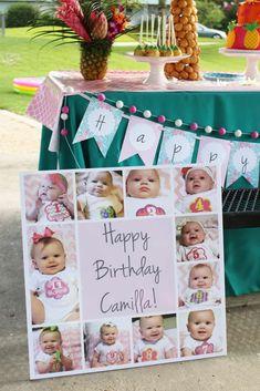 Camilla's Tropical Flamingo 1st Birthday Party | CatchMyParty.com