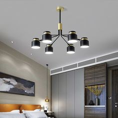 This chandelier comes with 8 lights, it's made of wrought iron, purchase from Homelava.com will have a longer service life. Pendant Lamp, Pendant Lighting, Fitted Bedrooms, Wrought Iron Chandeliers, Chandelier In Living Room, Contemporary Pendant Lights, Living Room Bedroom, Light Colors, Ceiling Lights