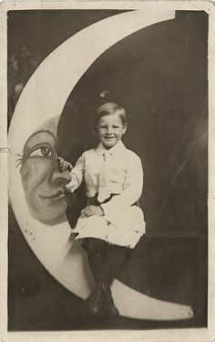 Smiling Boy on a Paper Moon - Real Photo Postcard by Photo_History, via Flickr