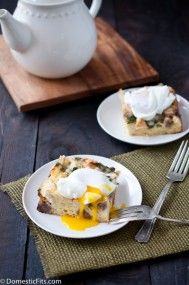 Sausage and Spinach Breakfast Casserole with Poached Eggs - Domestic Fits