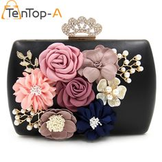 TenTop-A New Designer Black PU Evening Clutches Bag Three-dimensional Artificial Flowers Pearls Crown Diamonds Bridal Party Bags