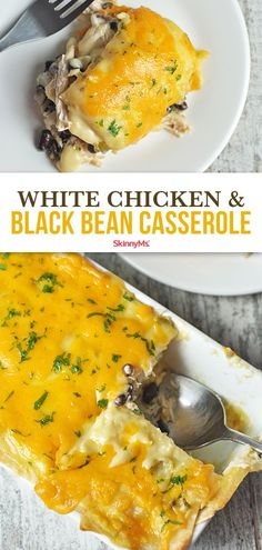 Treat yourself to something comforting while getting your Mexican food fix with this delicious White Chicken & Black Bean Casserole! Chock-full of clean nutritious ingredients this nourishing one-dish meal will leave you feeling full for hours. Clean Eating Recipes For Dinner, Clean Eating Meal Plan, Healthy Dinner Recipes, Mexican Food Recipes, Healthy Eating, Cooking Recipes, Mexican Dinners, Fun Recipes, Skinny Recipes