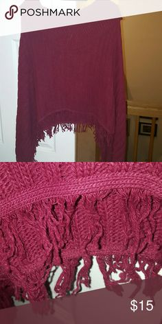 Raspberry knitted poncho Boho chic fringe. One size fits plus. Avenue but missing tags. Has been languishing in my closet too long. Make me an offer or bundle for the best price! Avenue Jackets & Coats
