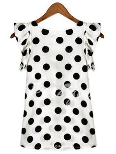 552bab1d78 Trendy Scoop Neck Polka Dot Flounce Blouse For Women Blouses