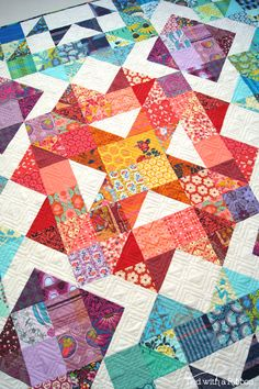 Aurora Quilt, pattern by Tied with a Ribbon, fabrics are Anna Maria Horner - scrappy version
