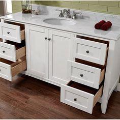 "Fairmont Designs Shaker Americana 60"" Single Bowl Vanity - Polar White | Free Shipping Single Bowl Sink, Single Sink Vanity, Dream Bathrooms, Beautiful Bathrooms, Fairmont Designs, Bathroom Styling, Bathroom Ideas, Plumbing Fixtures, Shaker Style"