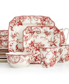 222 Fifth Adelaide Red Square Set Service For 4 Casual Dinnerware Dining Entertaining Macy S