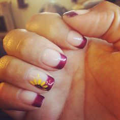 Wine color polish with sunflower nail art  #tips #nails #gel #paint #maroon #summer