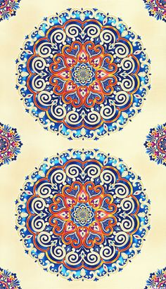 "eQuilter La Scala 6 - Meditative Mandala - Blue/Gold - 24"" x 44"" PANEL"