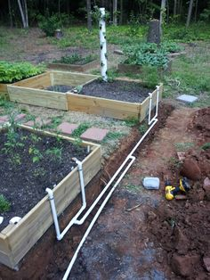 Nice irrigation system for a raised bed garden.