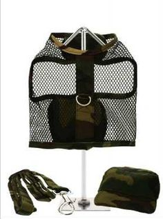 This camouflage harness is made from strong and durable nylon netting. It has a sturdy reinforced D-Ring and a double sized / double strength velcro for secure fastening. Matching lead and cap included to compliment the set. Yorkie Names, Buy Domain, Dog Carrier, Dog Coats, Dog Harness, Dog Accessories, Dog Design, Little Babies, Caps Hats