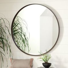 With its clean, unadorned lines, the Thomas Round Mirror epitomizes modern simplicity. The flat metal frame creates a light-filled banded border with just enough depth for contrast with the clear mirror. Thomas Round Mirror features:Hardwood back Patio Interior, Decor Interior Design, Interior Decorating, Decorating Bathrooms, Decorating Ideas, Simple Interior, Interior Livingroom, Farmhouse Interior, Home Design