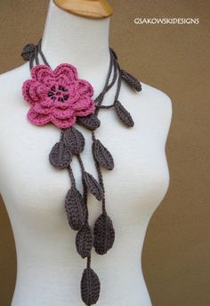 Pink Flower Lariat by gsakowskidesigns on Etsy