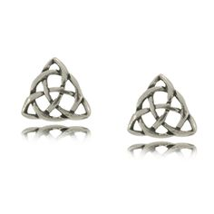 Celtic Trinity Knot Life's Endless Circle Stud Earrings in Sterling Silver