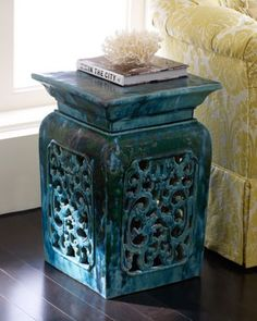 VINTAGE GARDEN STOOL Handmade Vintage Ceramic Garden Stool With Intricate  Filigree Panels Has A New Blue/green Finish (color Will Vary).