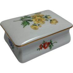 Meissen Handpainted Floral Covered Box with Gold Trim from Antiques of River Oaks on Ruby Lane $125