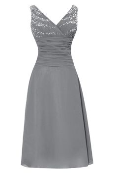 Dora Bridal V-Neck Chiffon Mother Of The Bride Dresses Tea Length Size 16 US Steel Grey