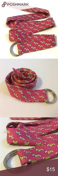 🔴 J. Crew • Pink silk Scottie dog belt J. Crew preppy Scottie dog belt. Pink and yellow. Size M/L. 100% silk. J. Crew Accessories Belts