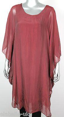 New Ladies Italian Lagenlook Quirky Elegant Kaftan Style Floaty Silk Top Dress