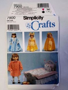 "Simplicity Crafts 7900 Pattern 18"" Doll Clothes & Bedding Uncut 1997 #SimplicityCrafts"