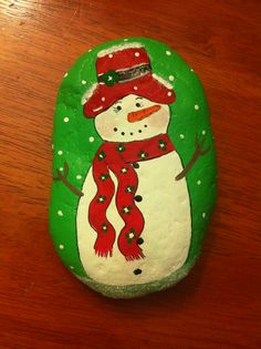 Snowman painted rock