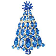 Vintage Style Swarovski Crystal Snowflake Christmas Tree Brooch Pin, Christmas Gift, Blue Rhinestone Goldtone Tree