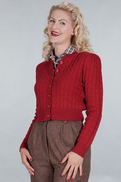 The ice skater cardigan. Lipstick red