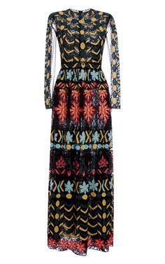 Shop Ricamo Veletta Afrika Long Sleeve Aline Skirt Gown by Valentino for Preorder on Moda Operandi