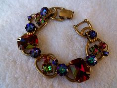 Vintage Juliana Watermelon Rhinestone Bracelet by MartiniMermaid, $220.00