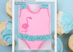 Learn to make a simple swimsuit cake & beachy buttercream cupcakes in MyCakeSchool.com's free blog tutorial!