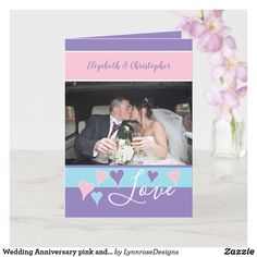 Wedding Anniversary pink and purple with name Card Happy Anniversary 1 Year, Wedding Anniversary Greeting Cards, Wedding Anniversary Photos, Mint Blue, Purple, Pink, Custom Greeting Cards, Name Cards, Holiday Photos