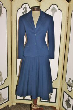 Early 1970's Navy Knit Pleated Skirt Suit by Butte