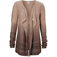 VERO MODA vest met pailletten ❤ liked on Polyvore featuring tops, cardigans, outerwear, sweaters, dip dye cardigan, vest tops, cardigan vest, brown tops and vero moda