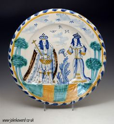 English delftware blue dash charger Royal double portraits of William 111 and Mary 11 late 17th c.. Dated: 1689 to 1694 London or Bristol England