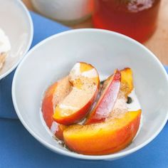 Peaches and Cream with Vanilla Bean-Zinfandel Caramel Sauce: Summer in a bow!