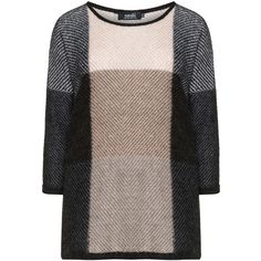 navabi Black / Brown Plus Size Mohair blend knit jumper ($120) ❤ liked on Polyvore featuring tops, sweaters, black, plus size, plus size tops, color-block sweater, plus size knit tops, women's plus size sweaters and loose sweater