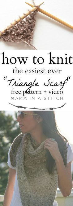 How To Knit An Easy Triangle Wrap via /MamaInAStitch/. This easy, free knitting pattern is so simple and makes a really pretty wrap for summer! Great for beginners and fun to make. #diy #crafts